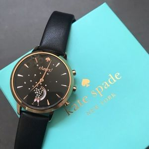Kate Spade hybrid smart watch black leather